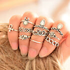 Cool Vintage Knuckle Rings Tribal Ethnic Hippie Stone Joint Ring Set for Women