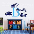 Custom Name Monogram Wall Decal Sticker Vinyl Construction Trucks Room Nursery