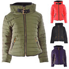 Women Ladies Quilted Padded Puffer Parka Jacket Fur Hooded Zip Front with Buckle