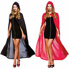 Womans Adults Cape With Hood Halloween Role Play Fancy Dress Costume New