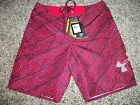 UNDER ARMOUR New NWT Mens 32 Board Shorts Swim Red Hydro Loose Fit