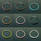 Braided real leather charm bracelets stainless steel clasp for charms beads ST-2