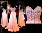 2017 New Women Stone Chiffon Long Prom Dress Party Pageant Formal Evening Gowns