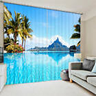 Clear Blue Sea Water Moutain 3D Blockout Photo Printing Curtains Draps Fabric Wi