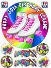 EDIBLE ICING 80's ROLLER SKATES BOOTS PERSONALISED HAPPY BIRTHDAY CAKE TOPPER
