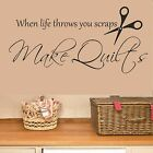 Sewing Room Vinyl Wall Sticker, Quilt Quote, Scissors, Thread, Craft,Dressmaker