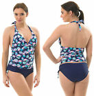 Bandeau Tankini Swimming Costume Outfit AZTEC Blue Orange Halterneck Beaded Navy