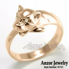 14k Solid Rose Gold Cat Head G-VS2 0.06 cwt Diamond Ring,  Sizes 4 to 9.5 #R1721
