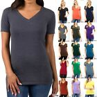 BASIC V-NECK SHORT SLEEVE Womens T-Shirt Top Stretch Fitted Casual Plain Solid