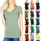 BASIC V-NECK SHORT SLEEVE Womens T-Shirt Top Stretch Solid Layering Casual Plain