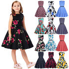 Girl Kid Princess Vintage Cotton Floral Dress Wedding Party Pageant Dresses Gown