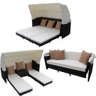 Curacao Outdoor Patio Furniture Canopy Bed and Triple Chaise Combination Set