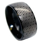 10mm Black Plated Tungsten Carbide Wave Design Wedding Ring Sizes 9-12