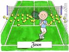 PERSONALIZED CUSTOM CARTOON PRINT - TENNIS PLAYER - GREAT GIFT IDEA! FREE S/H