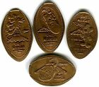 Space Mountain Established 1975 Complete Set Of Four Copper Pressed Pennies