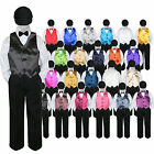 23 Color 5 pc Set Vest Bow Tie Boy Baby Toddler Formal Suit Black Hat Pants S-7