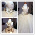 Tulle Straps Party Pageant Wedding Bridesmaid Ball Gown Flower Girls Kids Dress