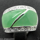 Smooth Bright 23X16mm Green Jade 925 STERLING SILVER RING SIZE #7/8/9/10