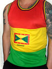 mens red yellow green Grenada Flag soca carnival spiceisle fete  mesh vest top