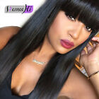 "12""-22"" Brazilian Straight Remy Human Hair Lace Wig With Bang/fringe Jet Black"