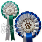 10 x Personalised Dog Show Rosettes, 2 tier Dog Agility Rosettes - PAW2