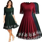 Women's Vintage Evening Cocktail Party Casual Wear To Work Pleated Flared Dress