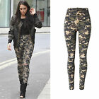 UK Sexy Women Camouflage Stretch Ripped Skinny Ladies Denim Pants Trousers Jeans
