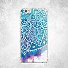 Blue Henna Mandala Design Soft Silicone TPU Rubber Case iPhone 5 6 S 7 Plus 8