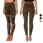 Women's Front Lace Up Cut Out Slim Skinny Suede Jeans High W