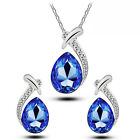A4 Something Blue for Wedding Crystal Jewellery Set Earrings Pendant Necklace