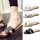 Women Jelly White Round Square Toe Soft Mules Sandal Flat 4 Color Size 6-10