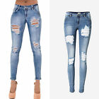 UK Women Faded Low Waist Stretch Ripped Frayed Ladies Denim Pants Trousers Jeans