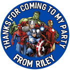 24 PERSONALISED MARVEL AVENGERS GLOSS BIRTHDAY PARTY,STICKERS,SWEET CONE LABELS