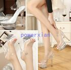 2017 Womens Sexy Clear Transparent Open Toe High Heels Ladies Sandals Shoes Chic