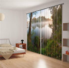 River With Woods Boats 3D Blockout Photo Printing Curtains Draps Fabric Window