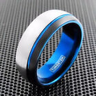 Tungsten Ring Brushed Silver w/ Black Stripe & Blue Inner Band Men's Engravable