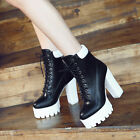 Block Heels Platform Motorcycle Shoes Womens Faux Leather Gothic Punk Ankle Boot