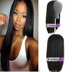 "Glueless Machine-made 3/4 Half Wig Human Hair Straight Clip-in Weft Cap 15""-28"""