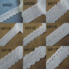 """2"""" - 4"""" wide Eyelet Cotton Blend Lace with Embroidered Trim White zhb11"""