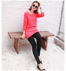 * Red Elegant Cotton Long Sleeve Round Neck Large Size Women's Shirt/Dress *