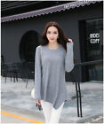 #Simple Commuter Cotton Long Sleeve Round Neck Large Size Women's Shirt/Dress #