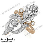 14k Solid Rose & White Gold Genuine Diamond Ring Russian Style Jewelry #R1909