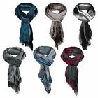 Mens Crinkled Check Frayed Scarf Soft Lightweight Wrap Long Scarves Fashion Gift