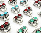 Wholesale Lots Turquoise Gemstone Tibet Silver Plated Men Women Ring Size 6-10