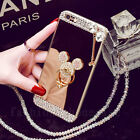 Girl's Mirror Luxury Bling Diamond Crystal Mickey Ring Stand Strap Case Cover