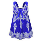 Blue Womens US Plus-Size Swimsuit Retro Print Two Piece Pin up Tankini Swimdress