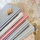Cottage Shabby Chic Red Beige Grey Stripe Ticking Linen Fabric Nautical 50x45cm