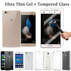 Clear Crystal TPU Soft case Cover tempered glass Screen Protector for Huawei