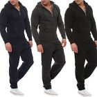 Mens Jogging Tracksuit Sports Gym Hooded Sweat Suit Set Athletic Clothes Coat