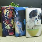 Wolf Tiger Dog Wallet Card Holder flip case cover for Samsung Galaxy Phone